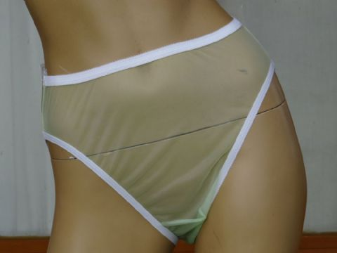 """NANCY KING"" ULTRA SEE NYLON/CHIFFON HIGH LEG KNICKERS  SIZE:- MEDIUM  USA - 6   W47"
